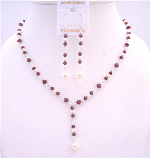 Bridal Dark Siam Red Crystals Drop Down Necklace White Swarovski Pearl
