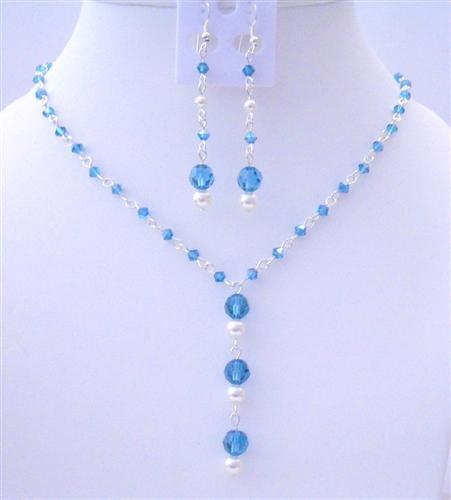 Primary image for Handcrafted Bridesmaid Swarovski Indicolite & White Pearls Jewelry Set
