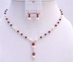 Custom Jewelry Swarovski Ivory Pearls Dark Siam Red Crystals Deep Red - $36.78
