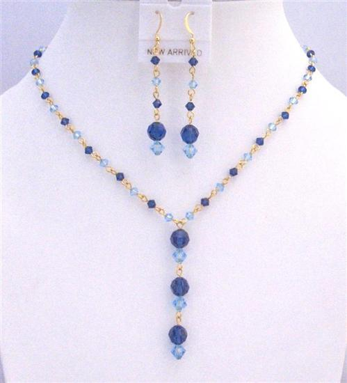 Primary image for Dainty Gold chain Swarovski Blue Aquamarine Sapphire Crystals Jewelry