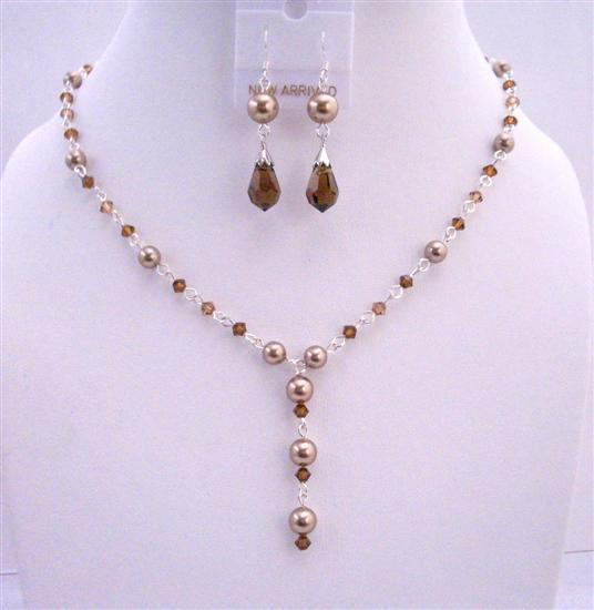 Bridal Bronze Pearl Smoked Topaz Crystal Handcrafted Y Shaped Necklace