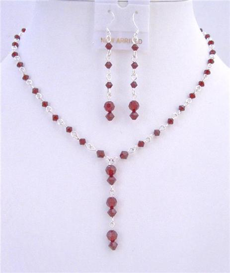 Bridal Handmade Swarovski Siam Red Crystals Drop Down Necklace Earring