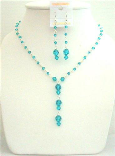 Primary image for Custom Bridal Swarovski Bluezircon AB Bluezircon Necklace Set