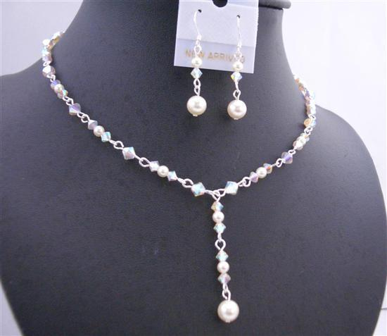 Primary image for White Swarovski Crystals AB 2X Cream Pearl Y Shaped Bridal Jewelry Set