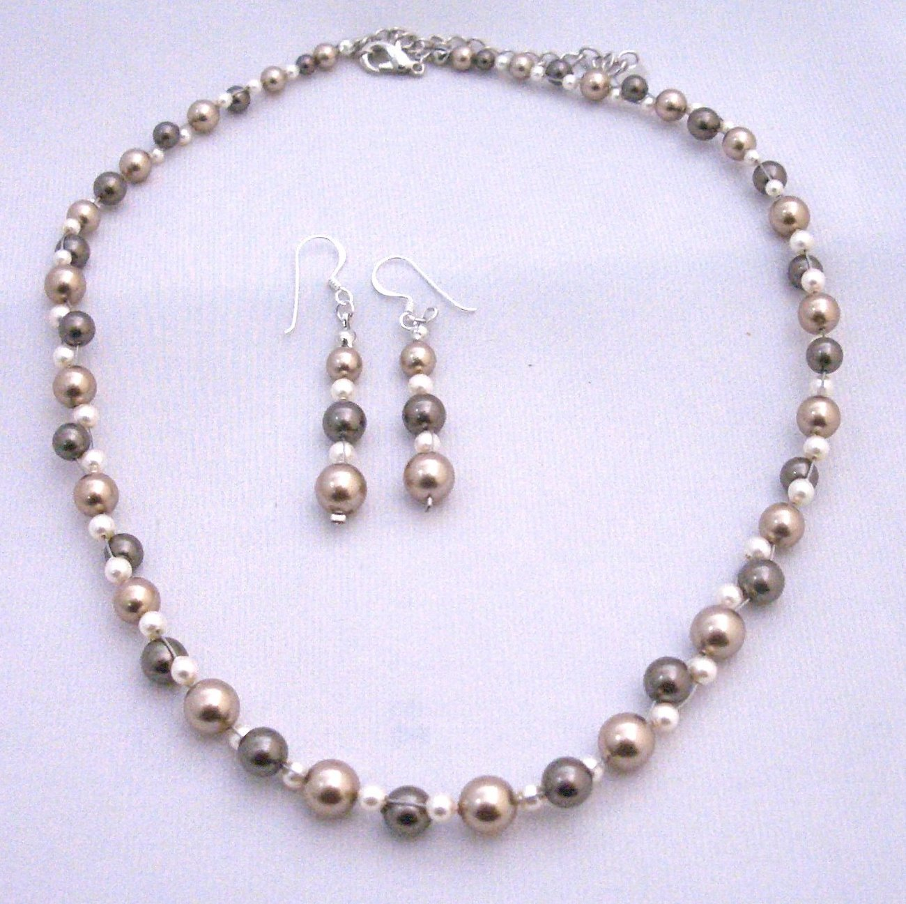 Metal Wire Pearls Woven Bronze Brown Ivory Pearls Wedding Necklace Set