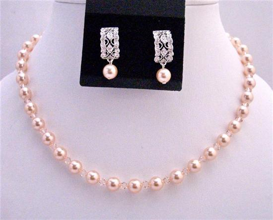 Primary image for Peach Bridesmaid Swarovski Pearls & Crystals Custom Necklace Earrings