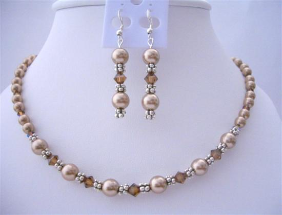 Primary image for Handcrafted Custom Bronze Pearls & Smoked Topaz Crystals Necklace Set