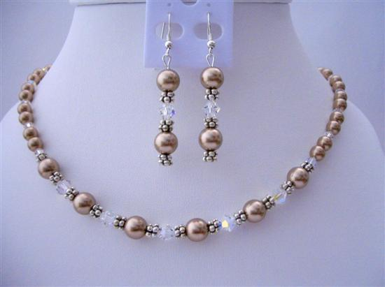 Primary image for Bridesmaid Bronze Pearls & AB (Aurora Borealis) Crystals Jewelry Set