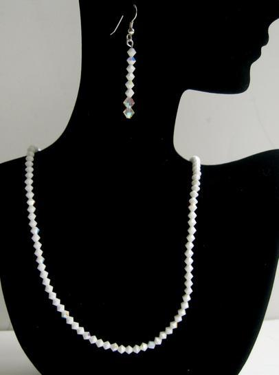 Swarovski Chalk & AB Chalk Sterling Silver Wedding Earrings & Necklace