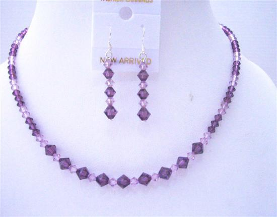 Primary image for Swarovski Amethyst Light & Dark Crystals Handcrafted Wedding Jewelry