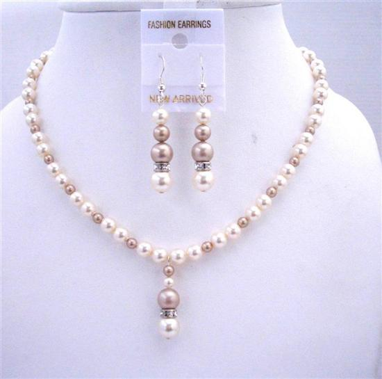 Primary image for Ivory w/ Champagne Swarovski Pearls Bridal Bridmemaids Jewelry