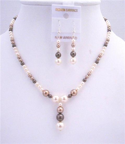 Ivory Bronze Dark Brown Swarovski Pearls Jewelry Wedding Bridal Set