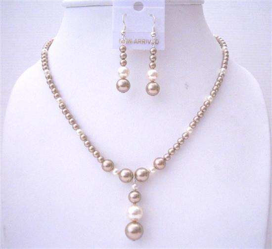 Primary image for Bronze Pearls Swarovski with Cream Pearls Handcrafted Wedding Jewelry