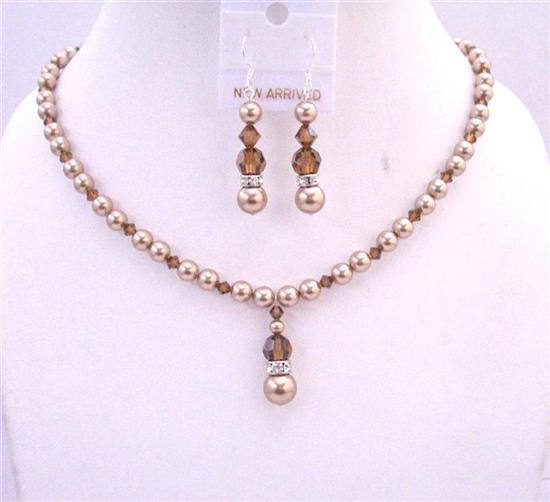 Bronze Pearls Swarovski Smoked Topaz Crystals Handcrafted Necklace Set