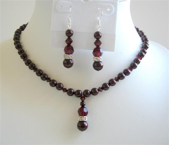 Bridesmaid Jewelry Meroon Pearls & Garnet Swarovski Crystals Necklace