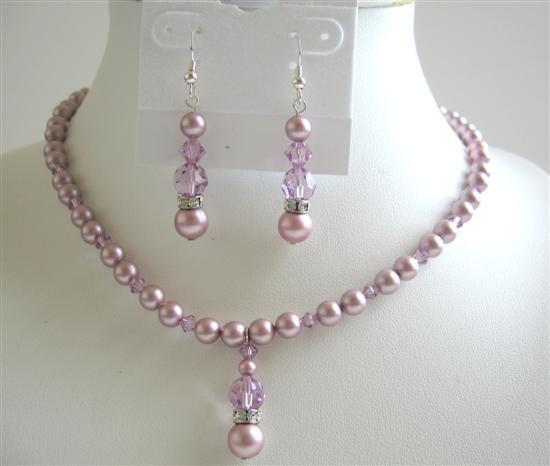 Lavender Crystals Jewelry Set Rose Pink Pearls Swarovski Necklace Set