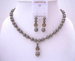 Brown Chocolate Pearl Smoked Topaz Crystal Handcrafted Wedding Jewelry - $44.58