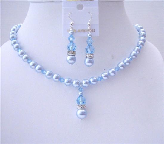 Blue Aquamarine Swarovski Pearls Aquamarine Crystals Wedding Jewelry