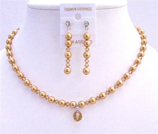 Primary image for Swarovski Gold Pearls Lite Colorado Crystals Jridal Custom Jewelry Set