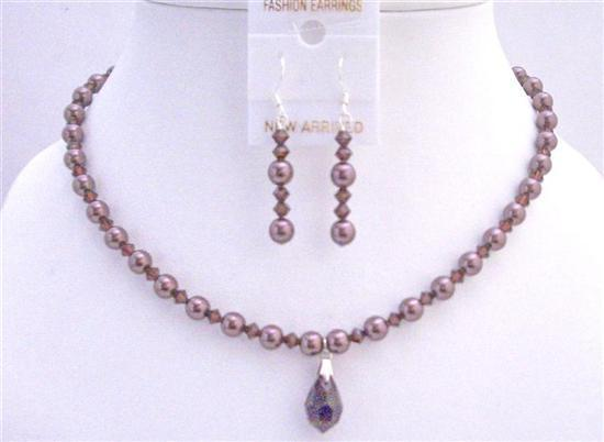 Primary image for Burgundy Pearls Crystals Swarovski Crystals Bridal Jewelry Set