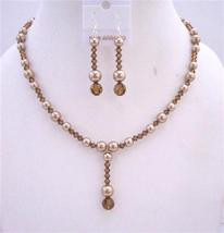 Bronze Pearls Swarovski Smoked Topaz Crystal Drop Down Wedding Jewelry - $44.58