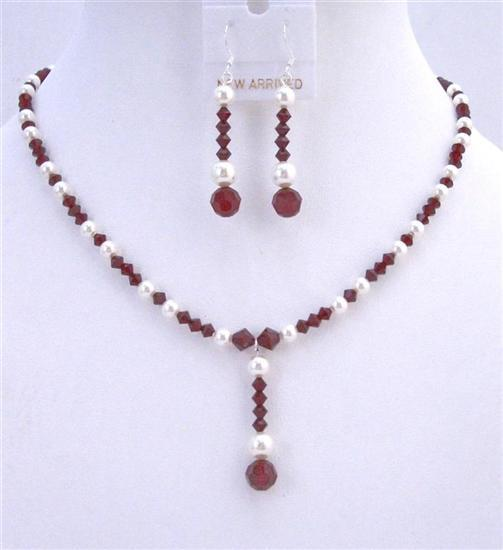 Custom Bridal Jewelry Dark Siam Red Swarovski Crystals & White Pearls