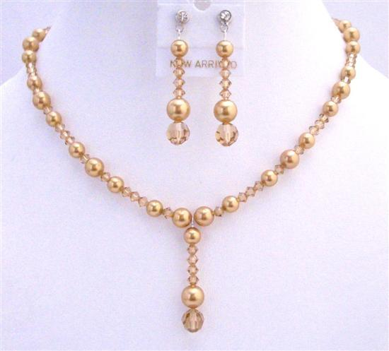 Primary image for Golden Wedding Jewelry Swarovski Lite Colorado Crystals Golden Pearls