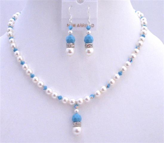 Blue Pool Jewelry White Swarovski Pearls Swarovski Turquoise Crystals