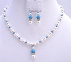 Blue Pool Jewelry White Swarovski Pearls Swarovski Turquoise Crystals - $41.98