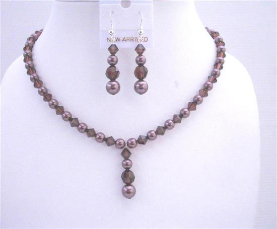 Primary image for Burgundy Swarovski Pearls Burgundy Crystals Bridal Bridesmaid Jewelry