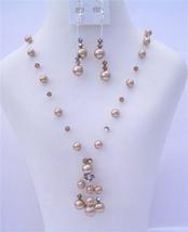 Custom Swarovski Bronze Pearls & AB Smoked Topaz Crystals Necklace Set - $34.18