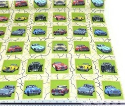 Classical Cars Squares 100% Cotton High Quality Fabric Material 3 Sizes - $2.84+