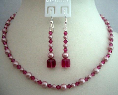 Primary image for Handcrafted Rose Pink Pearls & Fuchsia Crystals Necklace Jewelry Set