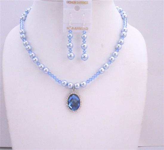 Primary image for Swarovski Blue Pearls Lite Sapphire Crystals w/ Pendant Necklace Set