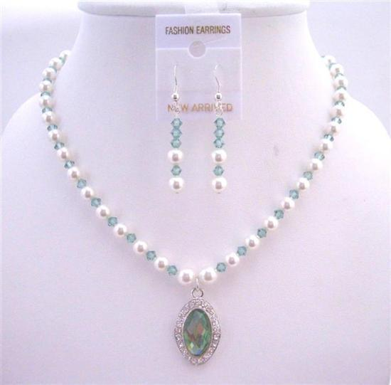 Primary image for Bridal Jewelry Erinite Swarovski Crystals & White Pearls Necklace Set