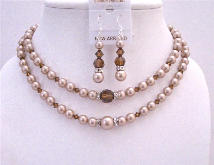 Primary image for Champagne Pearls Double Stranded Necklace Set w/ Smoked Topaz Crystals