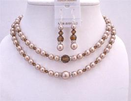 Champagne Pearls Double Stranded Necklace Set w/ Smoked Topaz Crystals - $77.08