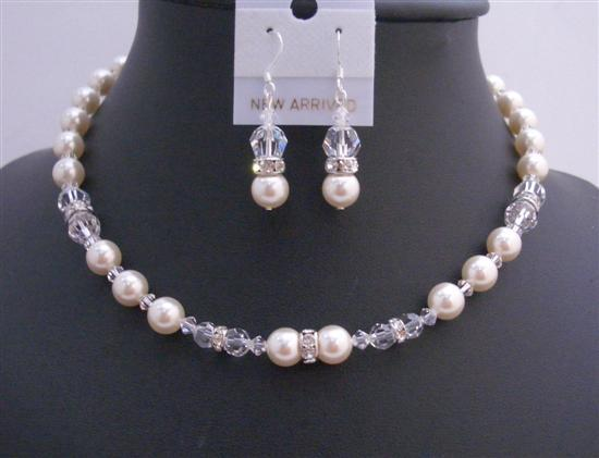 Handmade Bridal Jewelry Ivory Pearls Clear Crystals w/ Silver Rondells
