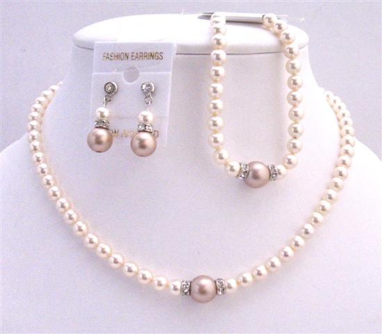 Primary image for Earrings & Bracelet Bridal Necklace Jewelry Set Ivory Champagne Pearls