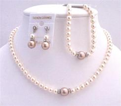 Earrings & Bracelet Bridal Necklace Jewelry Set Ivory Champagne Pearls - $51.08
