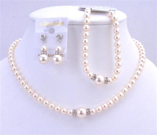 Primary image for Bridal Ivory Pearls Jewelry Complete Set Necklace Earrings & Bracelet