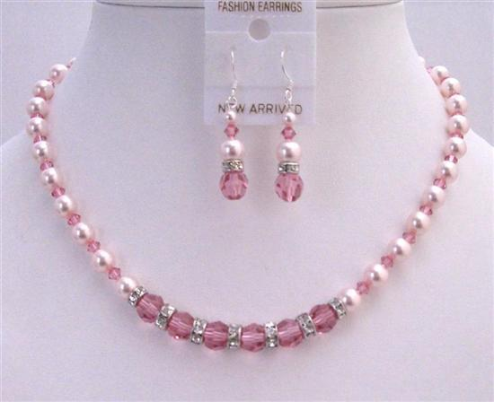 Bridal Custom Jewelry Set Rose Crystals Rose Pearls Swarovski Necklace