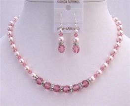 Bridal Custom Jewelry Set Rose Crystals Rose Pearls Swarovski Necklace - $49.78