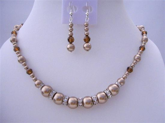 Pearls & Swarovski Crystals Bronze Pearls Smoked Topaz Necklace Set