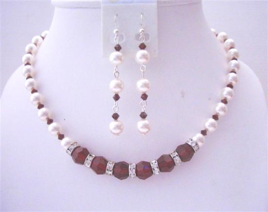 White Pearls Dark Siam Red Crystals Bridal Handcrafted Necklace Set