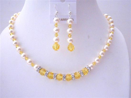 Primary image for Pumpkin Crystals Swarovski Lite Topaz Ivory Pearls Bridesmaid Jewelry