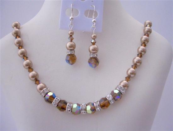 Primary image for Swarovski Smoked AB Topaz Crystals Swarovski Bronze Pearls Jewelry Set