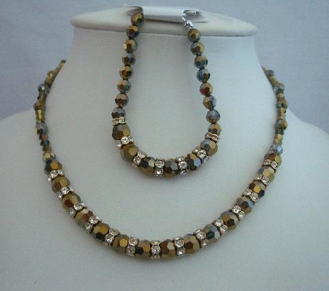 Primary image for Mother Of Bride Necklace Bracelet AB Dorado Crystals Swarovski Set
