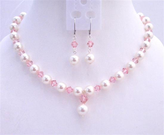 Primary image for Rose Pink Swarovski Crystals White Pearls Fashionable Jewerlry