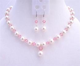 Rose Pink Swarovski Crystals White Pearls Fashionable Jewerlry - $46.53
